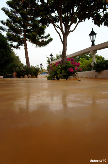 Application on a terrace of waterproof polished lime plaster. Crete, Greece